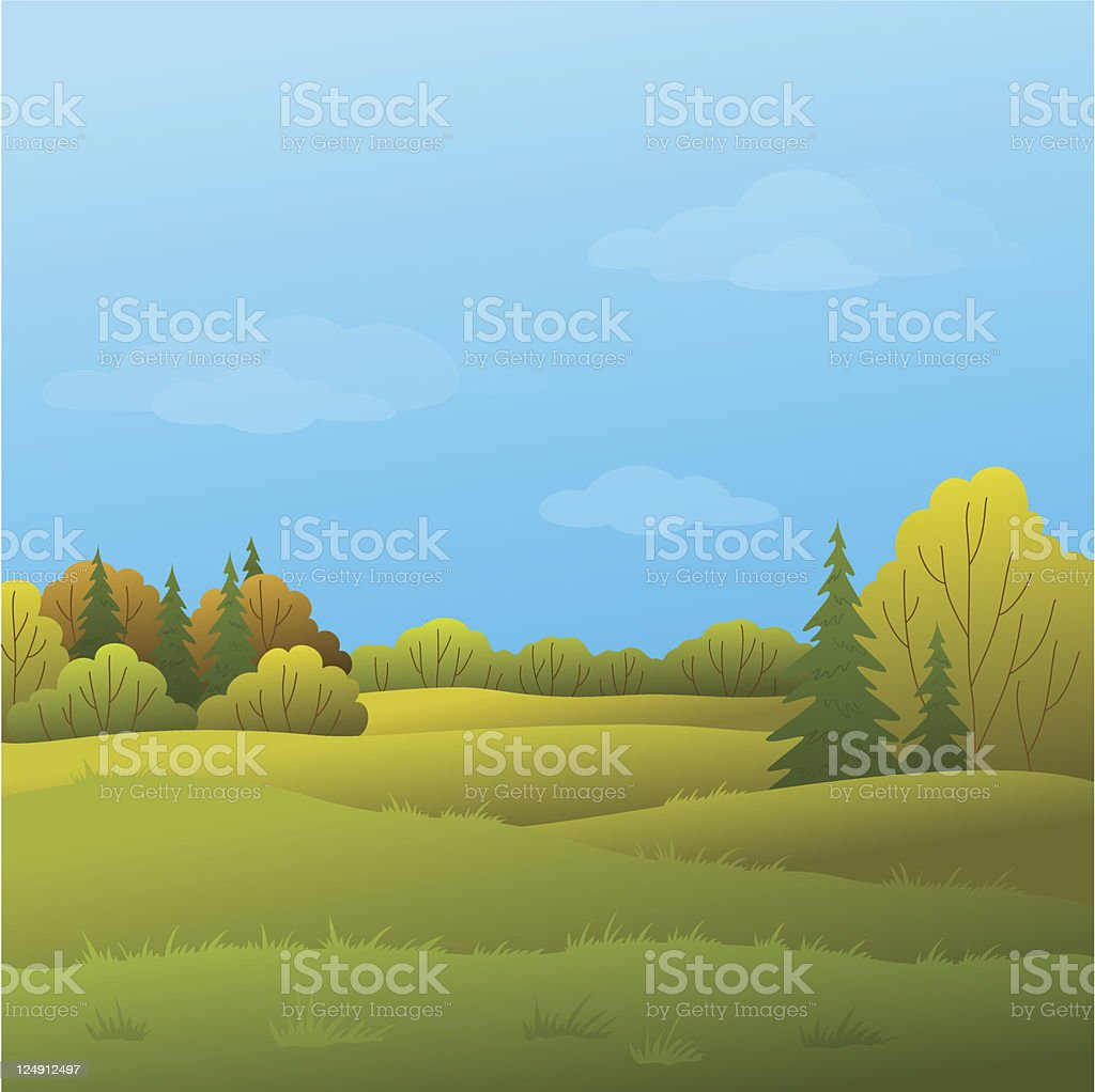 Landscape, autumn forest royalty-free stock vector art