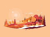 Landscape autumn vector. Autumnal nature and falling golden leaves illustration