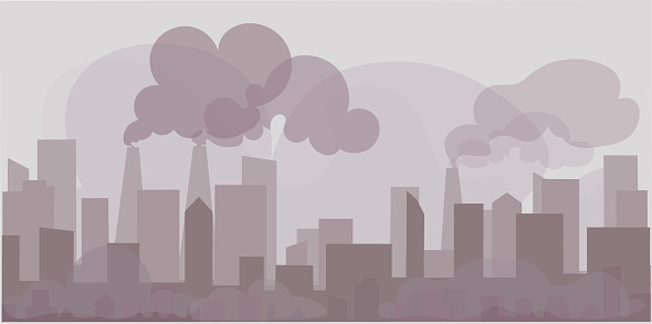 Landscape background Air pollution in the city.Outside the building, toxic smoke exceeds the standard.Concept flat style vector illustration environmental impact.-EPS10