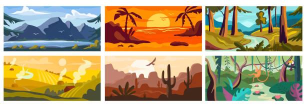 illustrazioni stock, clip art, cartoni animati e icone di tendenza di landscape background, beautiful nature outdoor, forest and ocean - fiordi