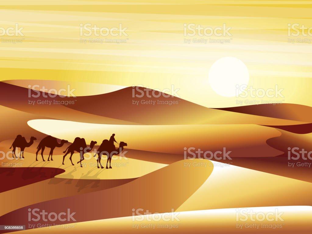 砂丘、barkhans とキャラバン ラクダ ベクトル イラストの背景の砂漠を風景します。 ベクターアートイラスト