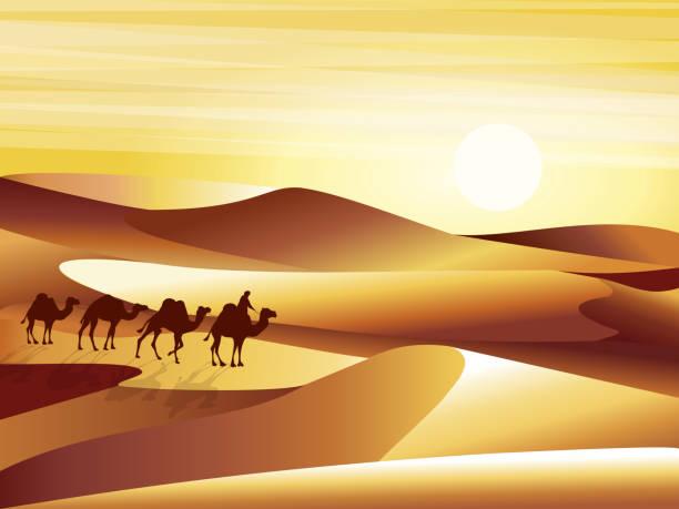 砂丘、barkhans とキャラバン ラクダ ベクトル イラストの背景の砂漠を風景します。 - 砂漠点のイラスト素材/クリップアート素材/マンガ素材/アイコン素材