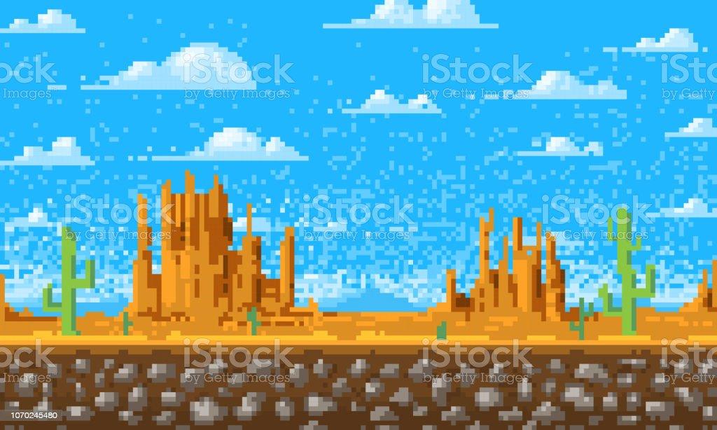 背景, ドット絵, 8 ビット ゲーム デジタル ビンテージ スタイルを風景します。アプリケーションまたは web サイトのインターフェイスです。山の上の雲.モニュメント バレー。 ベクターアートイラスト