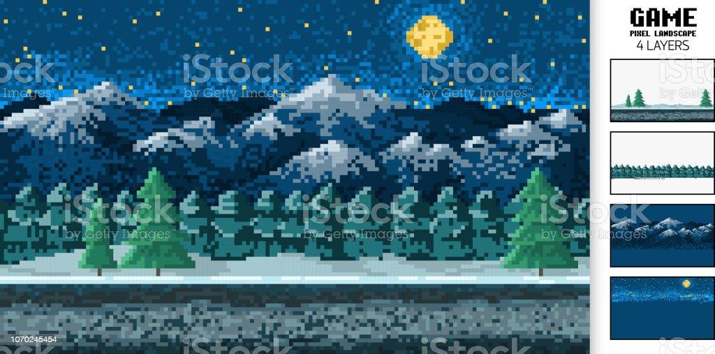 風景の背景、ピクセル アート、デジタル 8 ビット ゲーム ヴィンテージスタイル。アプリケーションまたは web サイトのインターフェイスです。山の中、森の中の夜。 ベクターアートイラスト