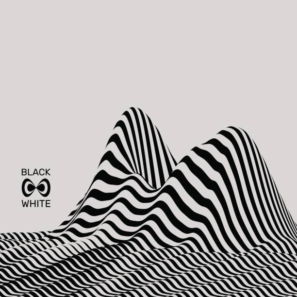 landscape background. terrain. black and white background. pattern with optical illusion. 3d vector. - black and white mountain stock illustrations, clip art, cartoons, & icons