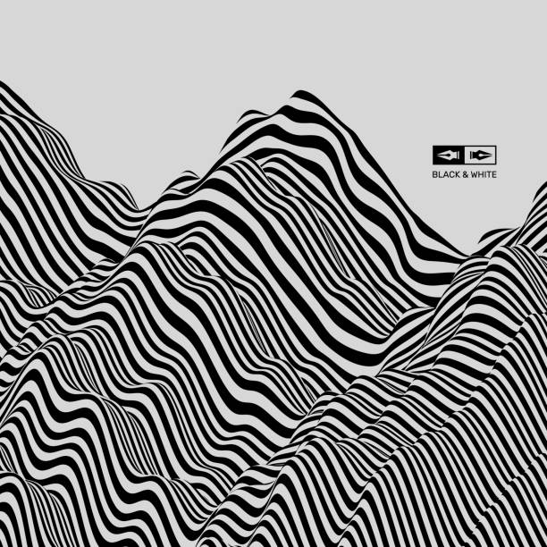 landscape background. terrain. black and white background. pattern with optical illusion. 3d vector illustration. - black and white mountain stock illustrations, clip art, cartoons, & icons