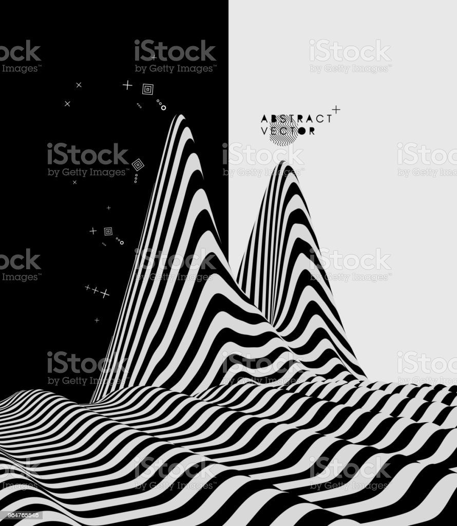 Landscape background. Terrain. Black and white background. Pattern with optical illusion. 3D Vector illustration. royalty-free landscape background terrain black and white background pattern with optical illusion 3d vector illustration stock vector art & more images of abstract