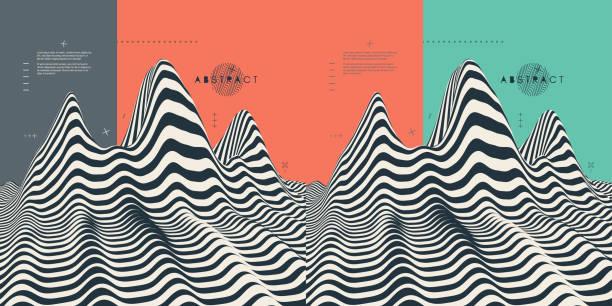 hintergrund-landschaft. gelände. muster mit optische täuschung. 3d vektor-illustration. - surreal stock-grafiken, -clipart, -cartoons und -symbole