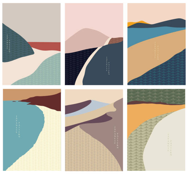 Landscape background with Japanese wave pattern. Abstract art, Mountain forest, desert template illustration. Landscape background with Japanese wave pattern. Abstract art, Mountain forest, desert template illustration. adventure patterns stock illustrations
