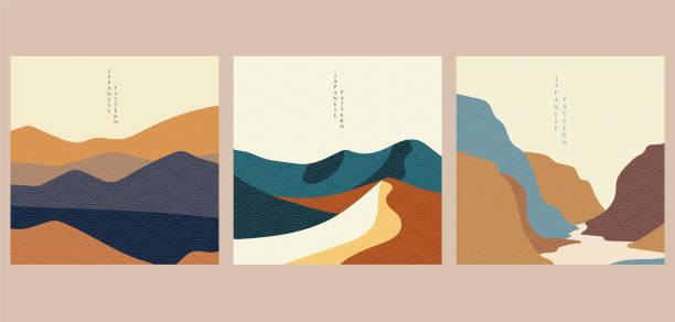 landschaftshintergrund mit japanischem wellenmustervektor. berg-vorlage. wüste tapete layout-design. - wüste stock-grafiken, -clipart, -cartoons und -symbole