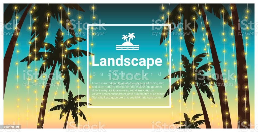 Landscape Background With Palm Trees At Tropical Beach Party Vector Illustration Royalty Free
