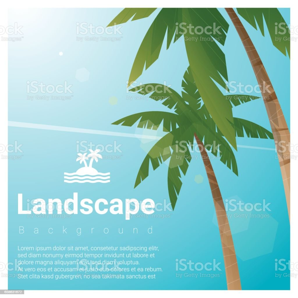 Landscape background with palm trees at tropical beach , vector , illustration vector art illustration