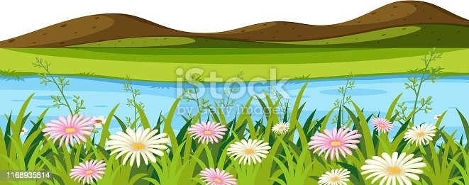 Landscape background with small hills and river illustration