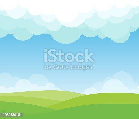 Landscape background with white cloud set on blue sky vector illustration