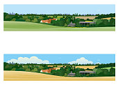 A typically English summer landscape with farm, woodland and fields in a horizontal banner format. Comes in two versions, each one differing slightly in colour and sky treatments.