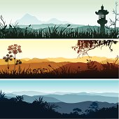 Beautiful spiritual landscapes with forest and grass silhouettes. Each banner placed on separate layer.