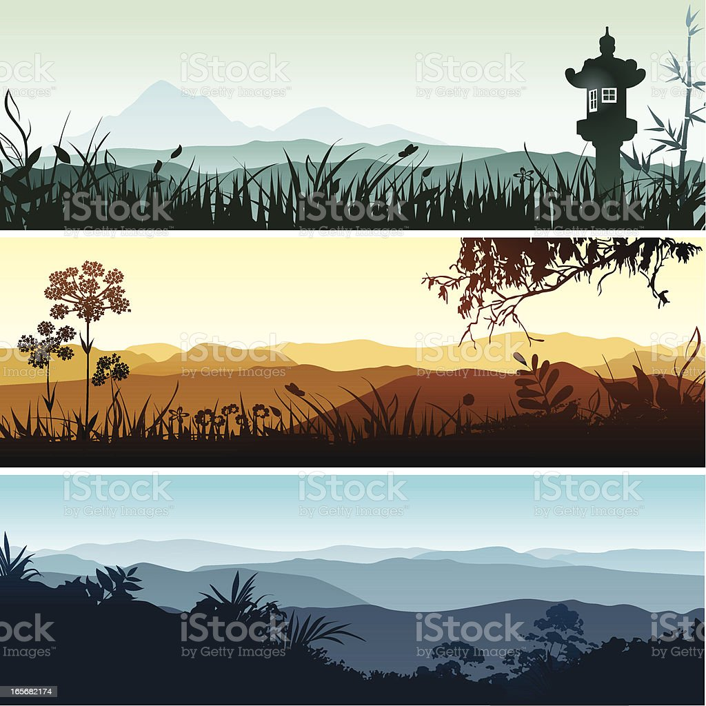 Landscape banners vector art illustration