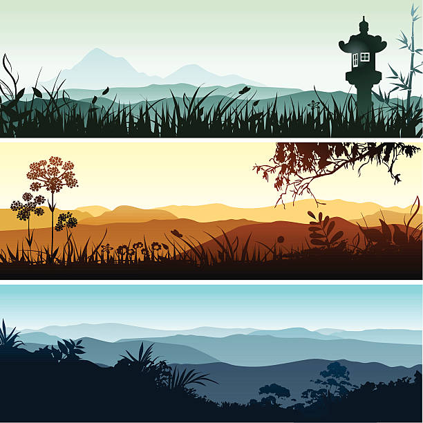 Landscape banners Beautiful spiritual landscapes with forest and grass silhouettes. Each banner placed on separate layer. valley stock illustrations