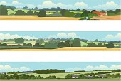 3 horizontal banners with a rural landscape theme.