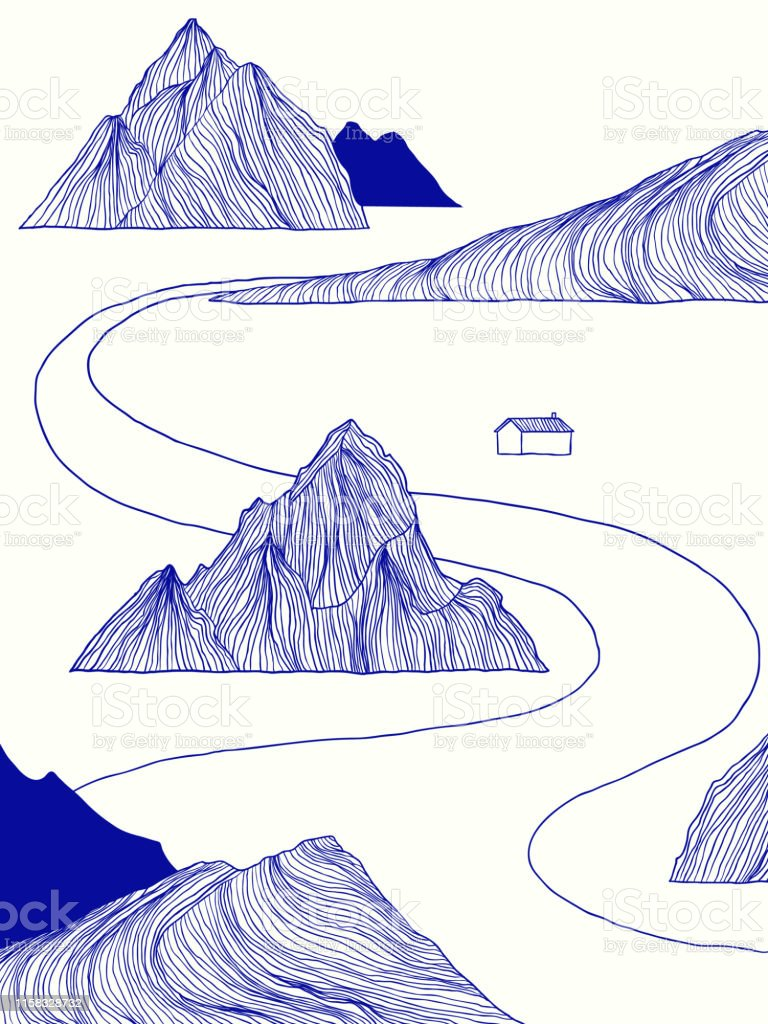 landscape blue line art ink drawing small house besides the river with mountains stock illustration download image now istock landscape blue line art ink drawing small house besides the river with mountains stock illustration download image now istock
