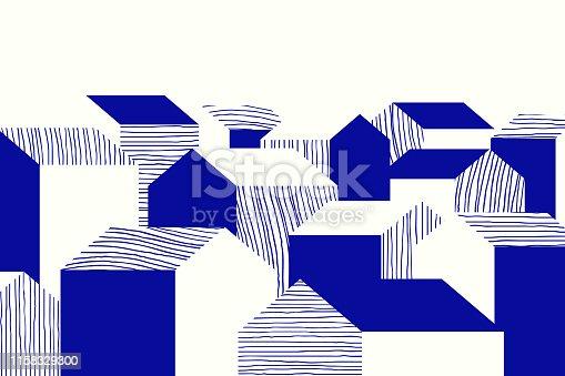 istock Landscape blue line art ink drawing, small village 1158329300
