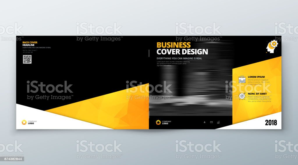 Landscape Brochure Design Black Yellow Corporate Business Template