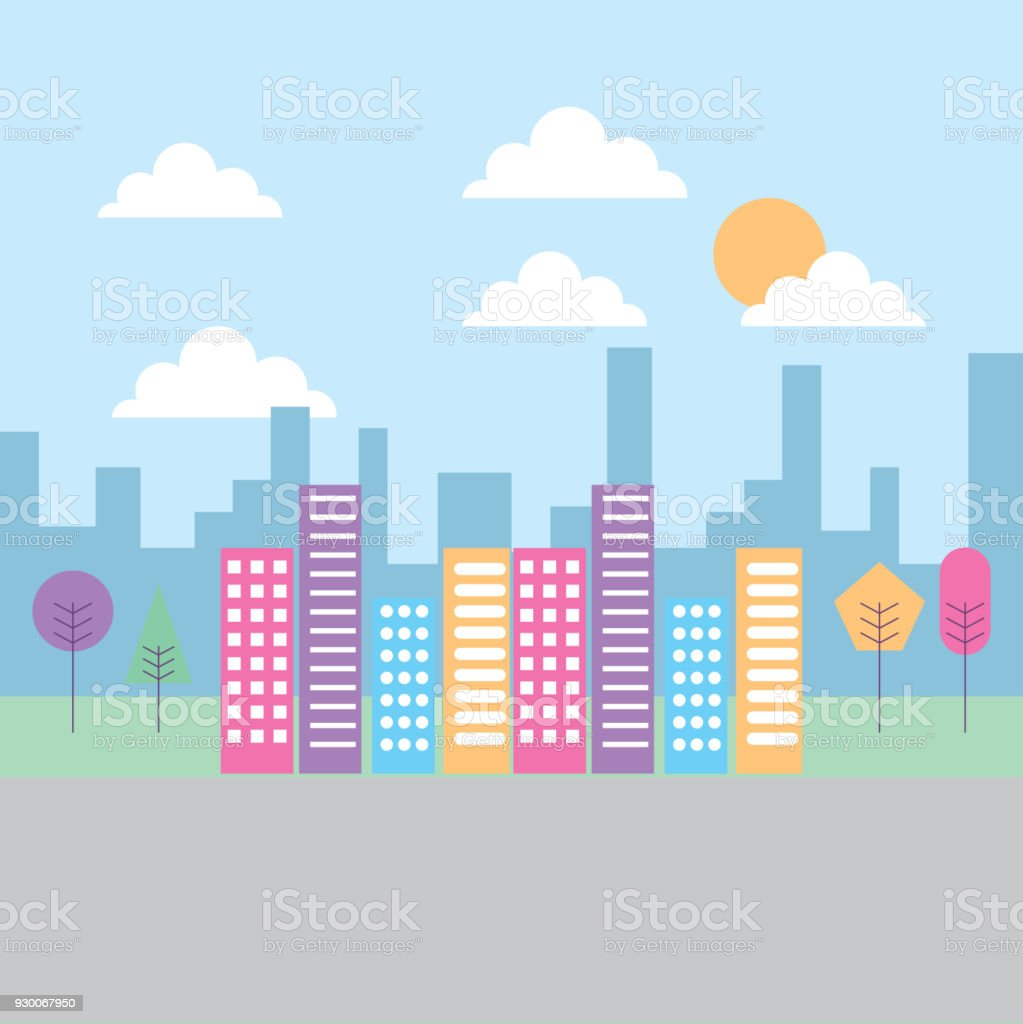 landscape building skyscraper tree heaven urban vector art illustration