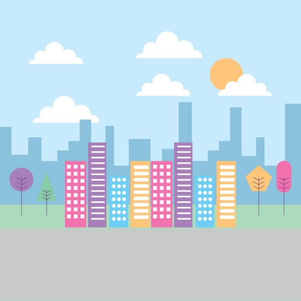landscape building skyscraper tree heaven urban vector art illustration