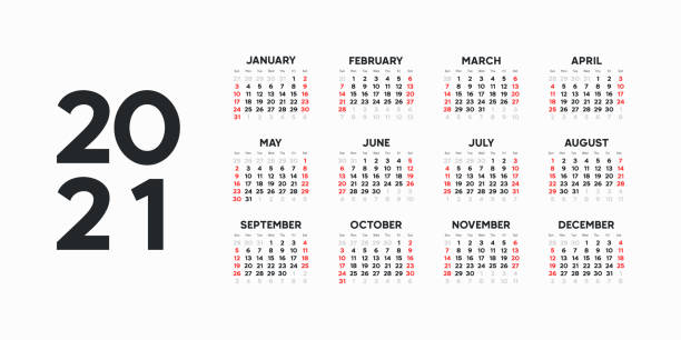 Landscape Calendar template. 2021 yearly calendar. 12 months yearly calendar set in 2021. Week starts from Sunday. Landscape Calendar template. 2021 yearly calendar. 12 months yearly calendar set in 2021. Week starts from Sunday. calendar stock illustrations