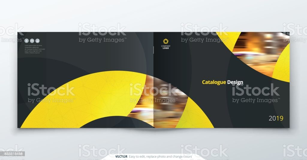 Landscape Catalog design. Yellow corporate business rectangle template brochure, report, catalog, magazine. Brochure layout modern circle shape abstract background. Creative catalog vector concept vector art illustration