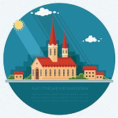 Landscape church on the background of the city. Flat illustration