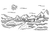 istock Landscape City Mountains Clear Sky Drawing 1273296008