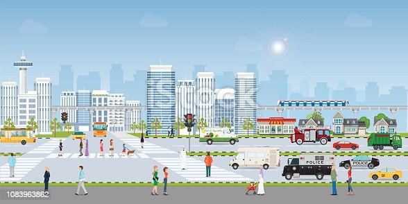 Landscape city with large modern buildings and public transport with pedestrians, sky train and road traffic vector illustration.