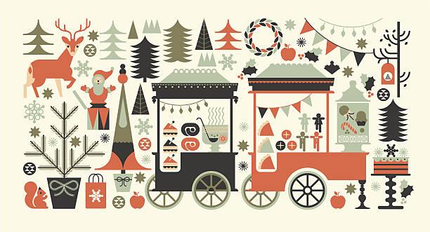 """landschaft komposition mit christmas market """". - weihnachtsmarkt stock-grafiken, -clipart, -cartoons und -symbole"""