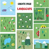 Landscape constructer with nature elements for design, vector graphic illustration