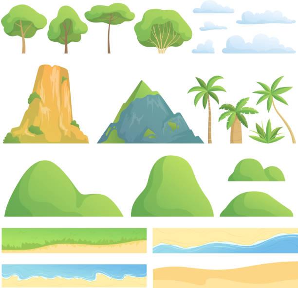 ilustrações, clipart, desenhos animados e ícones de construtor de paisagem. kit de criação com árvores arbustos montanhas montes nuvens costa areia e grama vetor coleção de desenhos animados - landscape creation kit