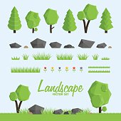 Landscape constructor icons set.  Trees, stone and grass elements for landscape design. Low poly vector illustration set
