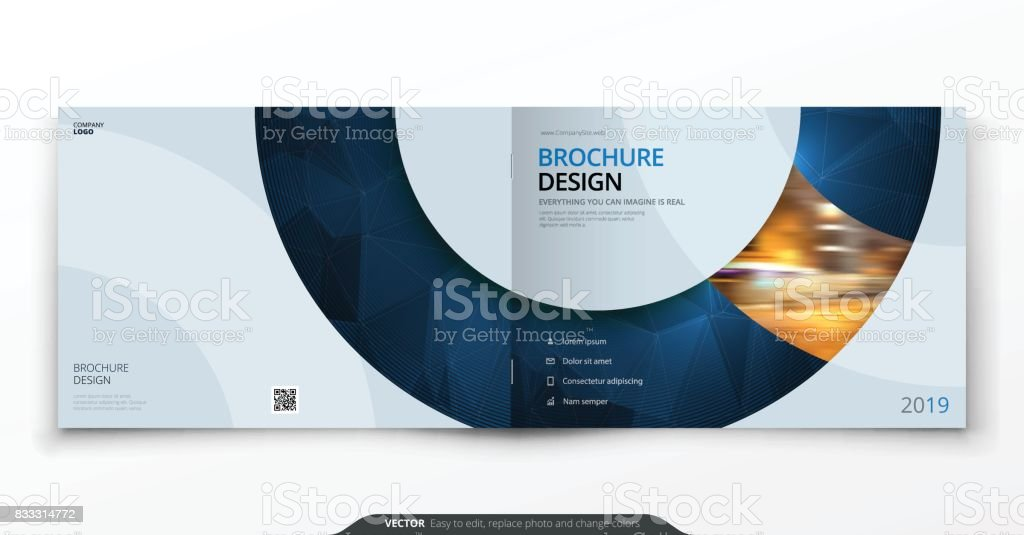 Landscape cover design. Blue corporate business rectangle cover template brochure, report, catalog, magazine. Modern cover layout circle shape abstract background. Creative cover vector concept vector art illustration