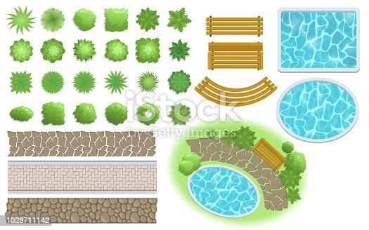 Landscape, garden elements. Landscaping elements vector. Footpath, bench, pool, plants top view. Landscaping symbols set, flat vector illustration. Isolated on white background