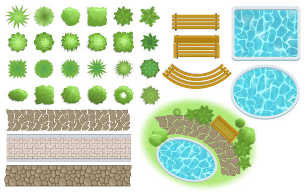 landscape design and garden elements. footpath, bench, pool, plants top view. landscaping symbols set. flat vector illustration. isolated on white background. - куст stock illustrations