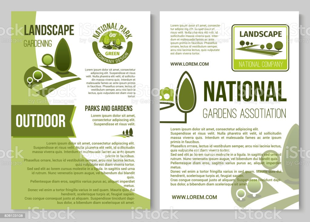 Landscape Design And Gardening Poster Template Stock Vector Art ...