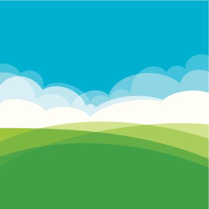 Summer landscape design showing hills, clouds and sky.  EPS10 file using transparencies
