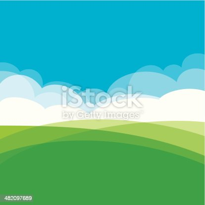 Summer landscape design showing hills, clouds and sky.  EPS10 file using transparencies