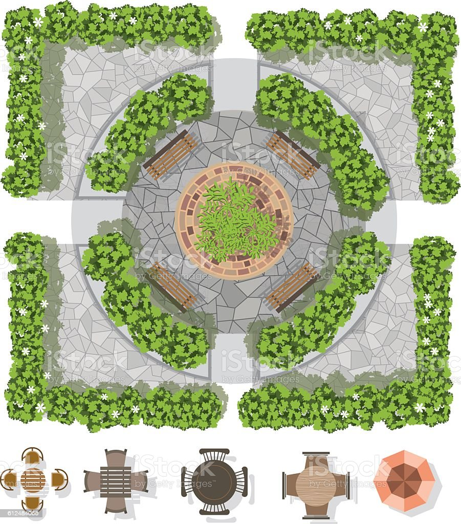 furniture ornamental garden plan architecture backgrounds landscape design composition with top view