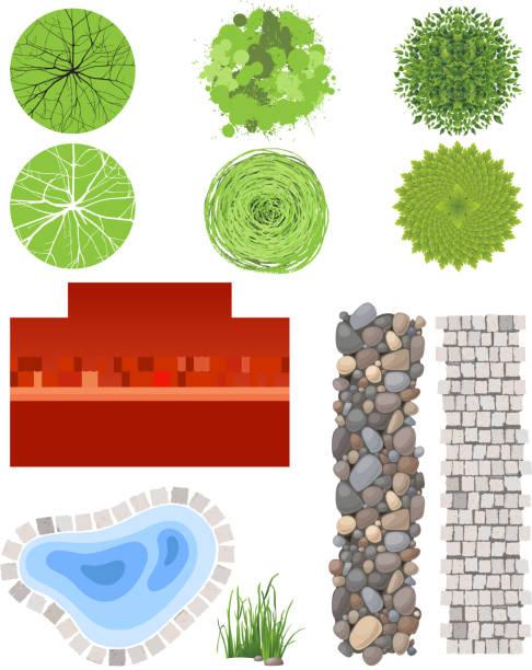 landschaft design-elemente - steinpfade stock-grafiken, -clipart, -cartoons und -symbole