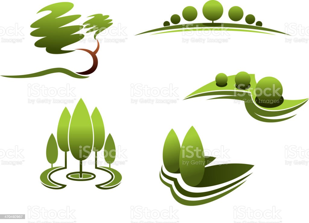Landscape design elements vector art illustration