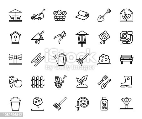 Arrangement of land. Equipment for horticulture. Black contour icons on white background.