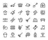 istock Landscape design, icons, line, monochrome, vector. 1082756842