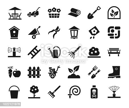 Arrangement of land. Equipment for horticulture. Dark grey, flat icons on white background.