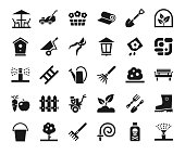 istock Landscape design, icons, monochrome, vector. 1022121978